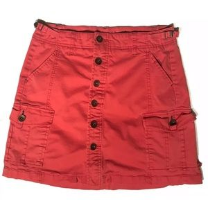 JAG Jeans Red/Pink Skirt Sz 6 Button Adjust. Waist